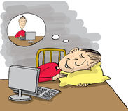 Man sleeping at work table but dreaming about work stock illustration