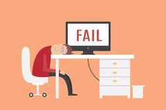 Man sleeping on workplace. fail vector illustration. Man sleeping on workplace eps10 Royalty Free Stock Image