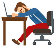 Man sleeping on workplace Stock Image