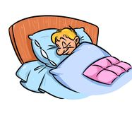 Man sleeps bed cartoon illustration Royalty Free Stock Photos