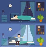 Man sleeps in bed at night and wakes up in the morning. Stock Image