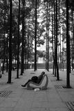 Man sleeps in park. A man sleeps on a park bench in Kuala Lumpur, Malaysia Royalty Free Stock Photography