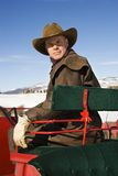 Man in sleigh. Royalty Free Stock Photography