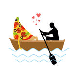 Man and slice of pizza and ride in boat. Lovers of sailing. Man Royalty Free Stock Photography