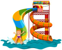 Man sliding down the water slide Stock Image