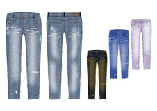 Man slim fit distressed denim pant in various shade design template Royalty Free Stock Photo