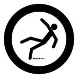 Man slip fall icon black color in circle. Vector illustration isolated Stock Photography