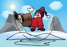 Man slip on ice pool. Illustration of a man slip on outdoor ice pool background Royalty Free Stock Photos