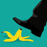 Man slipping on a banana peel flat design. Royalty Free Stock Photos