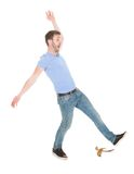 Man slipping over white background Royalty Free Stock Images