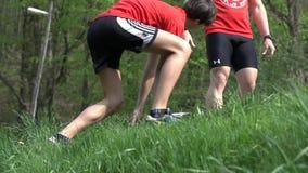 Man slipping while running uphill
