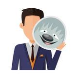 Man with Sloth Mask Flat Design Vector Illustration Stock Image