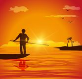 Man on small boat. Vector illustration of man on small boat at sunset Royalty Free Stock Photo
