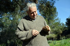man with a small turtle Stock Photos