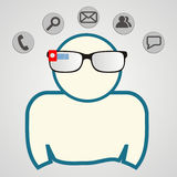 Man with smart glasses. communication technology. Vector illustration. Man with smart glasses and web icons. communication technology. Vector illustration Stock Photos