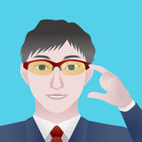 Man with smart glasses, Wearable device, illustration Royalty Free Stock Photos