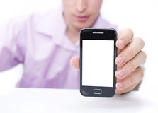 Man and smart phone Royalty Free Stock Image