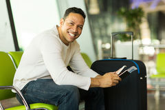 Man smart phone airport Stock Photography