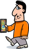 Man with smart phone cartoon Stock Images