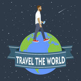 The man with smart phone goes around the globe.Travel. Vector il Royalty Free Stock Photo