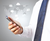 Man smart phone with icons Stock Photos