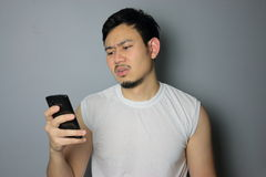 A man and smartphone. Stock Photo