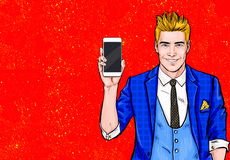 Man with smartphone in the hand in comic style.Man with phone. Man showing mobile phone.Digital advertisement. Iphone, cellphone, royalty free illustration