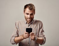 Man with smartphone royalty free stock photography