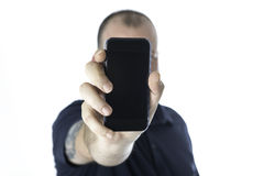 Man and smartphone Royalty Free Stock Photos