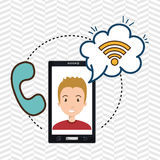 man smartphone wifi and telephone Royalty Free Stock Image