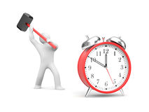 Man smashes alarm clock Stock Photography