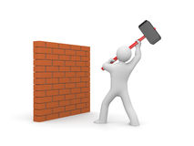 Man smashes wall Stock Images