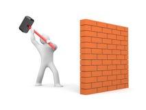 Man smashes wall Stock Image