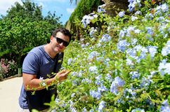 Man Smelling Blue Flowers. In Park Guell ,Spain stock photography