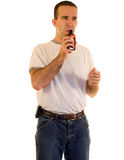 Man Smelling Cough Medicine Stock Images