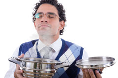 Man smelling delicious lunch from pot Royalty Free Stock Photos