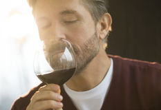 Man Smelling Glass Of Red Wine Stock Photo