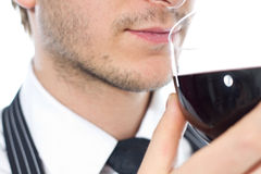 Man smells wine Royalty Free Stock Image