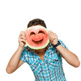 Man with smiley of watermelon Royalty Free Stock Photo