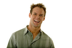 Man smiling in casual shirt Stock Image