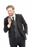Man with smiling face talk on mobile phone Stock Photo