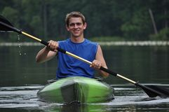 Man Smiling on Kayak Royalty Free Stock Images