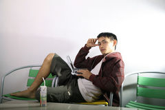 Man smiling on laptop. At home Royalty Free Stock Image