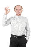 Man smiling and making ok gesture isolated Royalty Free Stock Photography