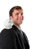 Man Smiling with Piggy Bank Royalty Free Stock Images