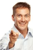 Man smiling and pointing Royalty Free Stock Photos