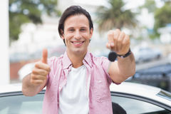 Man smiling and showing thumbs up Royalty Free Stock Photos