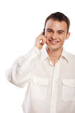Man smiling and talking on phone isolated Royalty Free Stock Photos