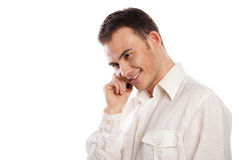 Man smiling and talking on phone isolated Stock Photo