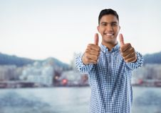 man smiling with thumbs up royalty free stock photos